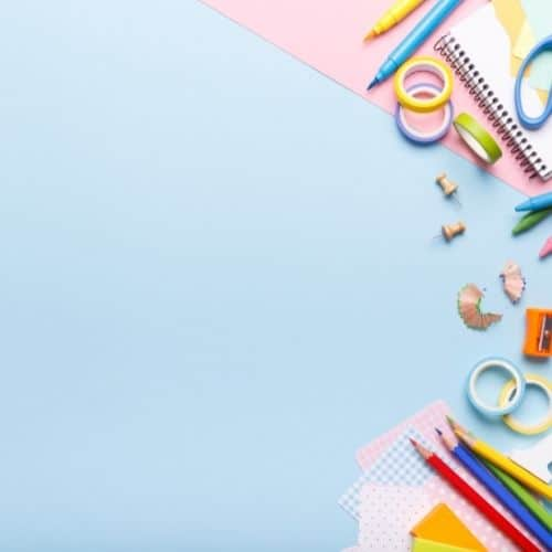 Flatlay with school supplies. The best online course tools for course creators.