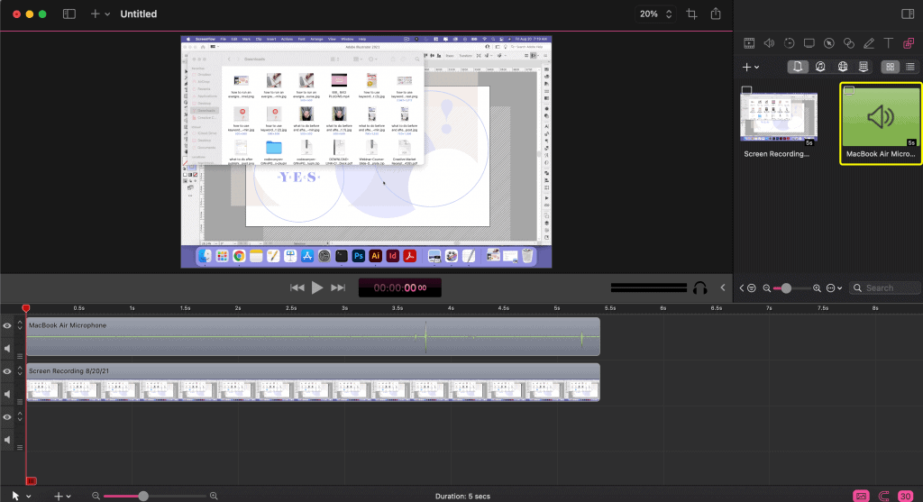 Screenshot of a video being edited in Screenflow for an evergreen webinar funnel or automated webinar.