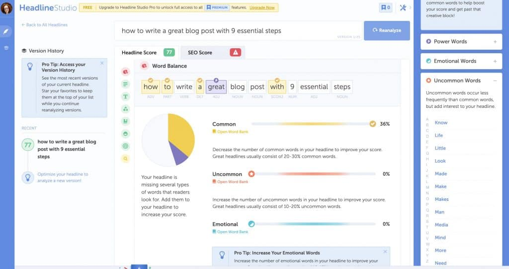 Screenshot of the Coschedule Headline Analyzer, which helps you write killer blog posts and titles.